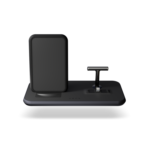 ZEDC06B - Zens Stand+Dock Aluminium Wireless Charger Front Top view