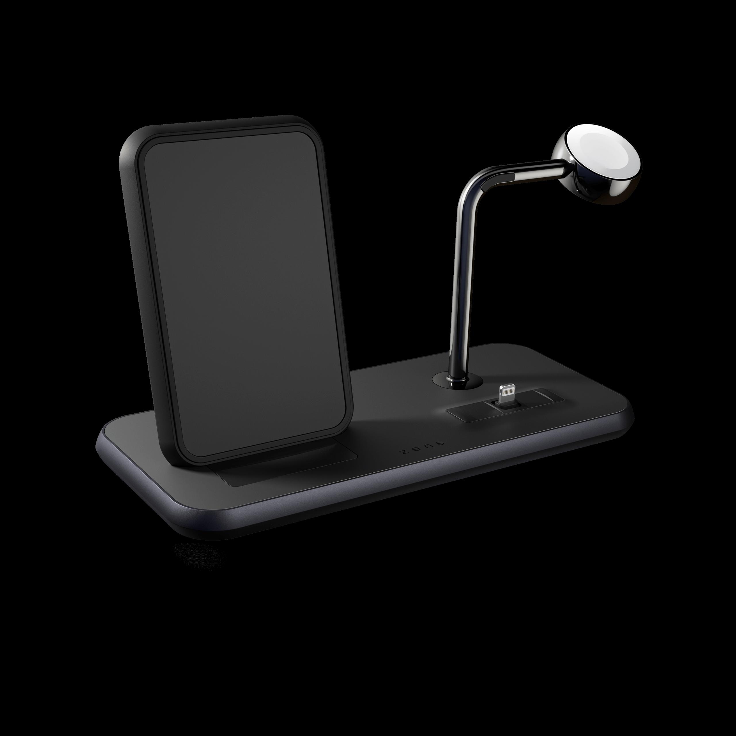 ZEDC07B - Zens Stand+Dock+Watch Aluminium Wireless Charger Front Side View