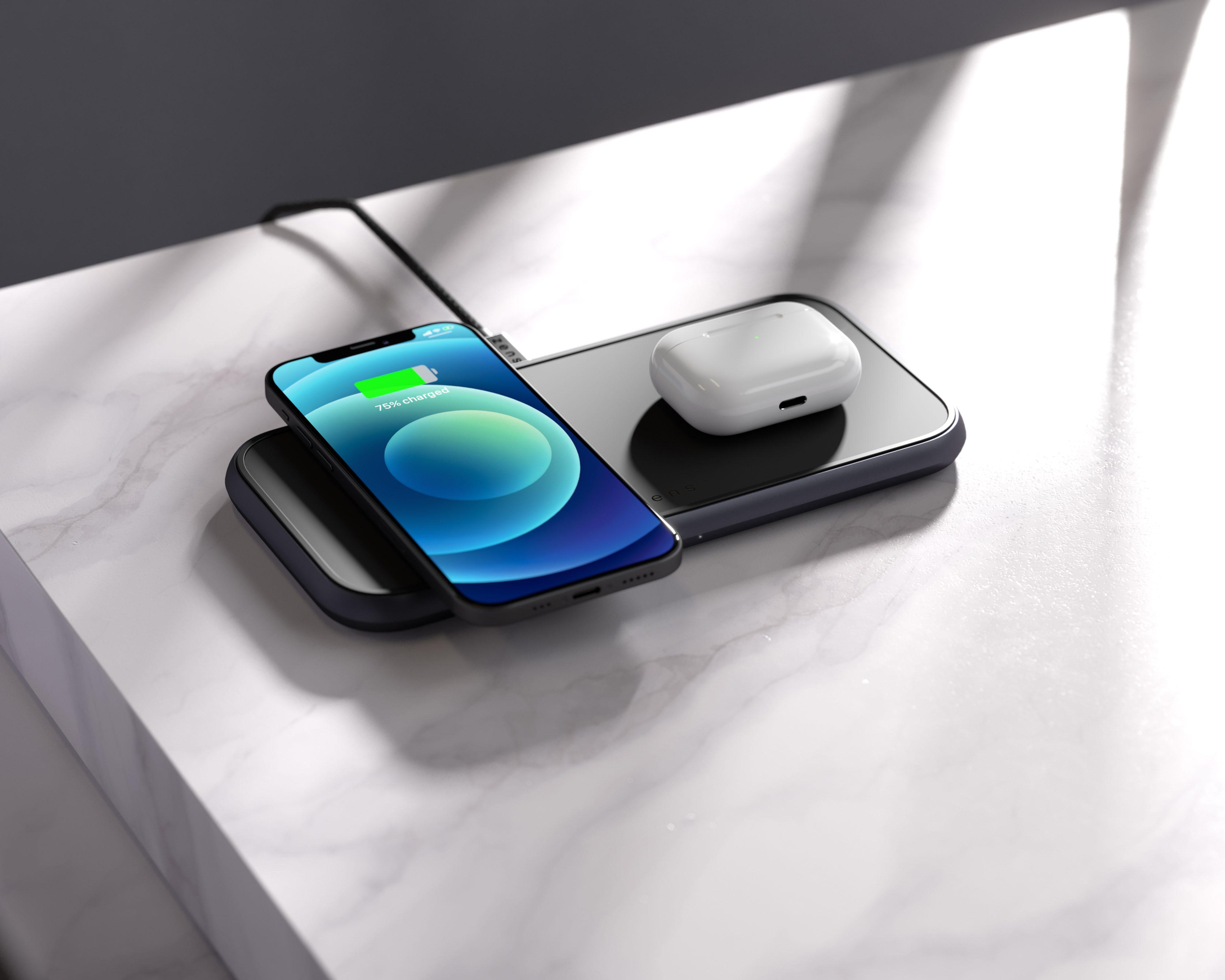 ZEDC10B - Zens Dual Aluminium Wireless Charger Lifestyle