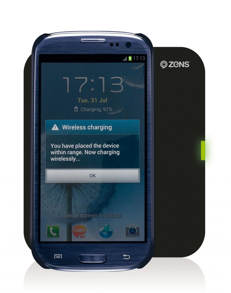 Samsung Galaxy S3 Wireless Charging Case ZENS Single Wireless Charger Pad