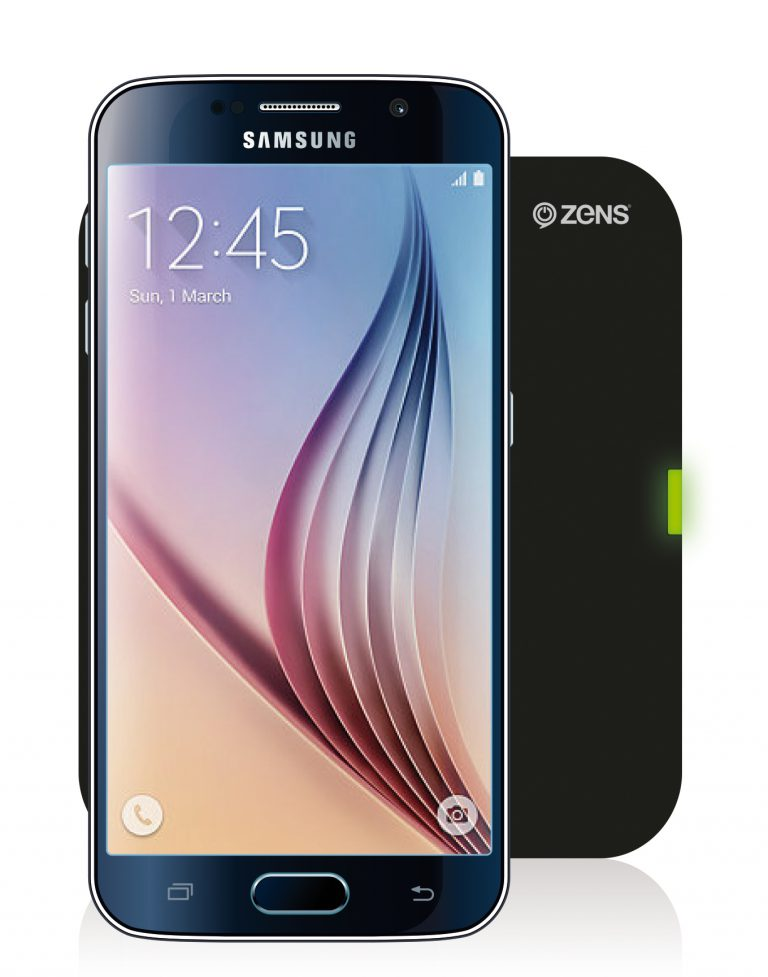 Samsung Galaxy S6 on a ZENS Single Wireless Charger Black