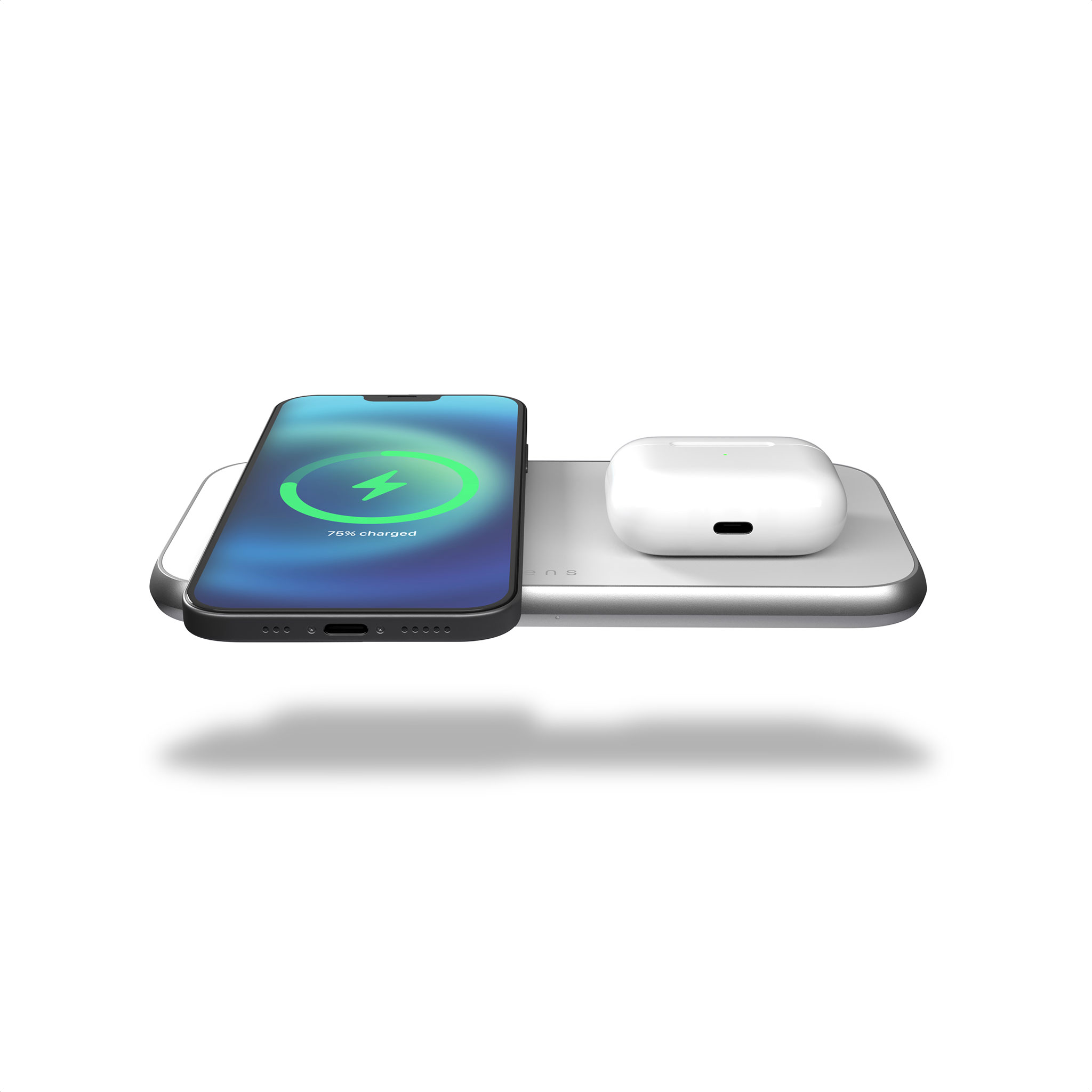 ZEDC16W - Zens 3 in 1 MagSafe Wireless Charger Front Top View with devices
