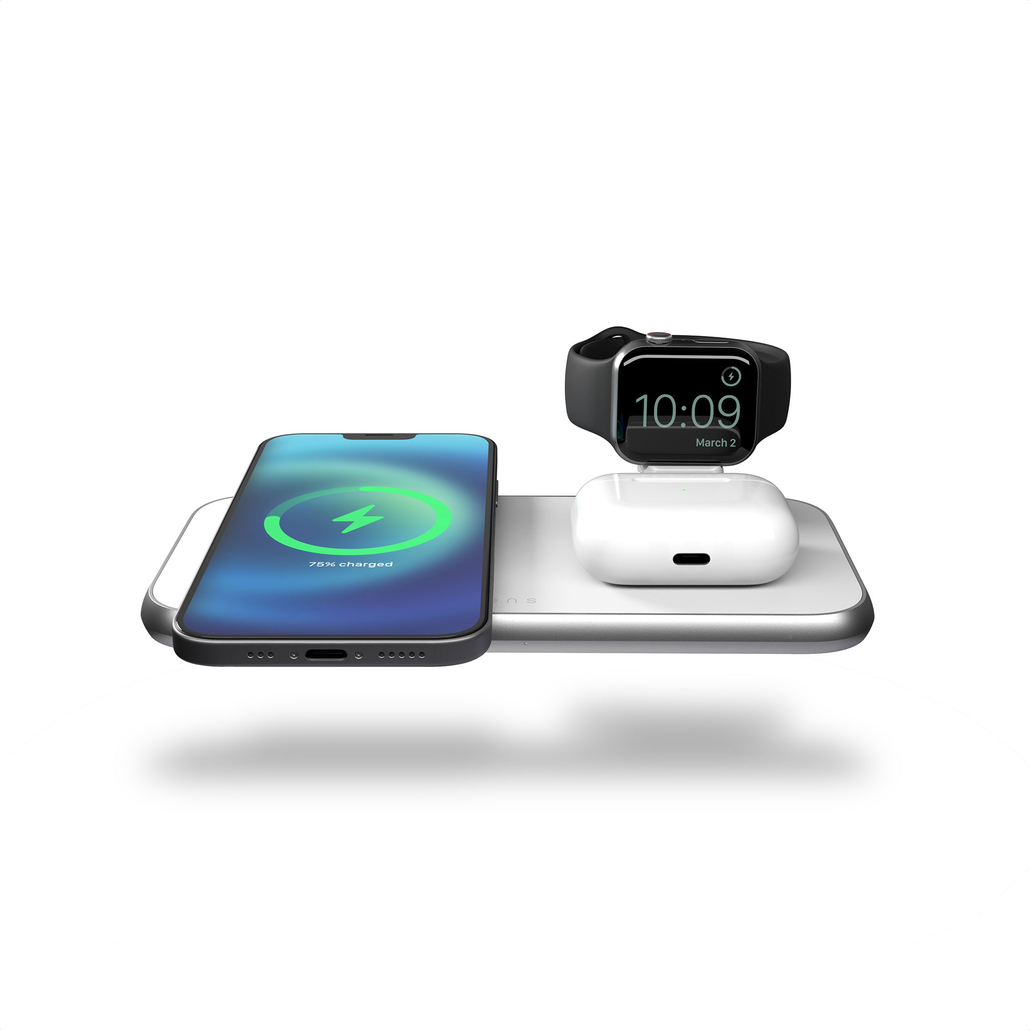 ZEDC17W - Zens 4-in-1 MagSafe Wireless Charger Front Top View with devices