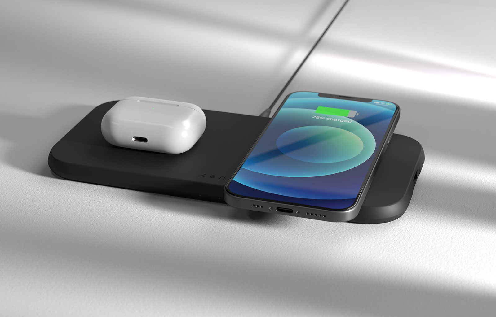Dual wireless charger with iPhone and Airpods