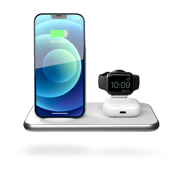 ZEDC15W - 4 in 1 Stand+Watch Wireless Charger Aluminium Front View with Devices