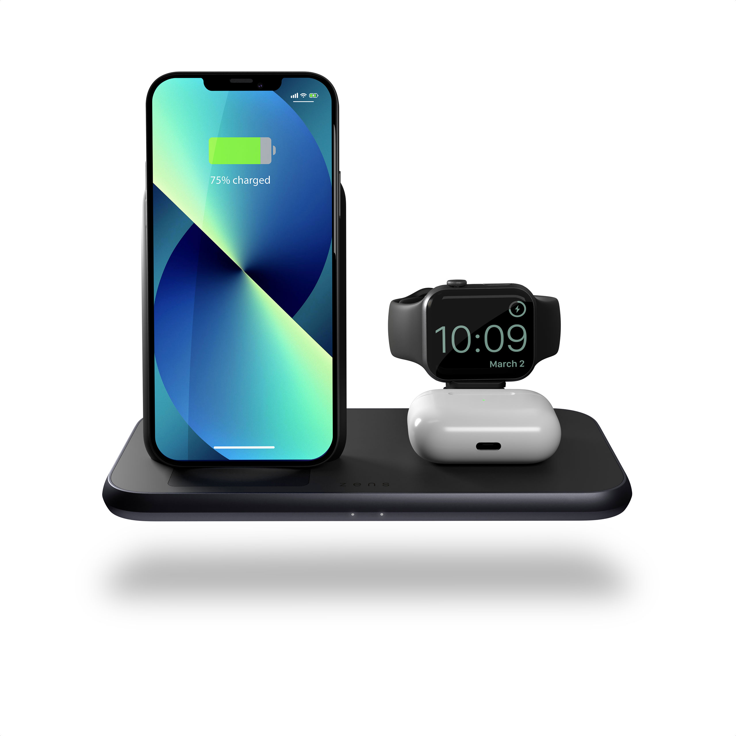 ZEDC15B - 4 in 1 Stand+Watch Wireless Charger Aluminium Front View with iPhone 13