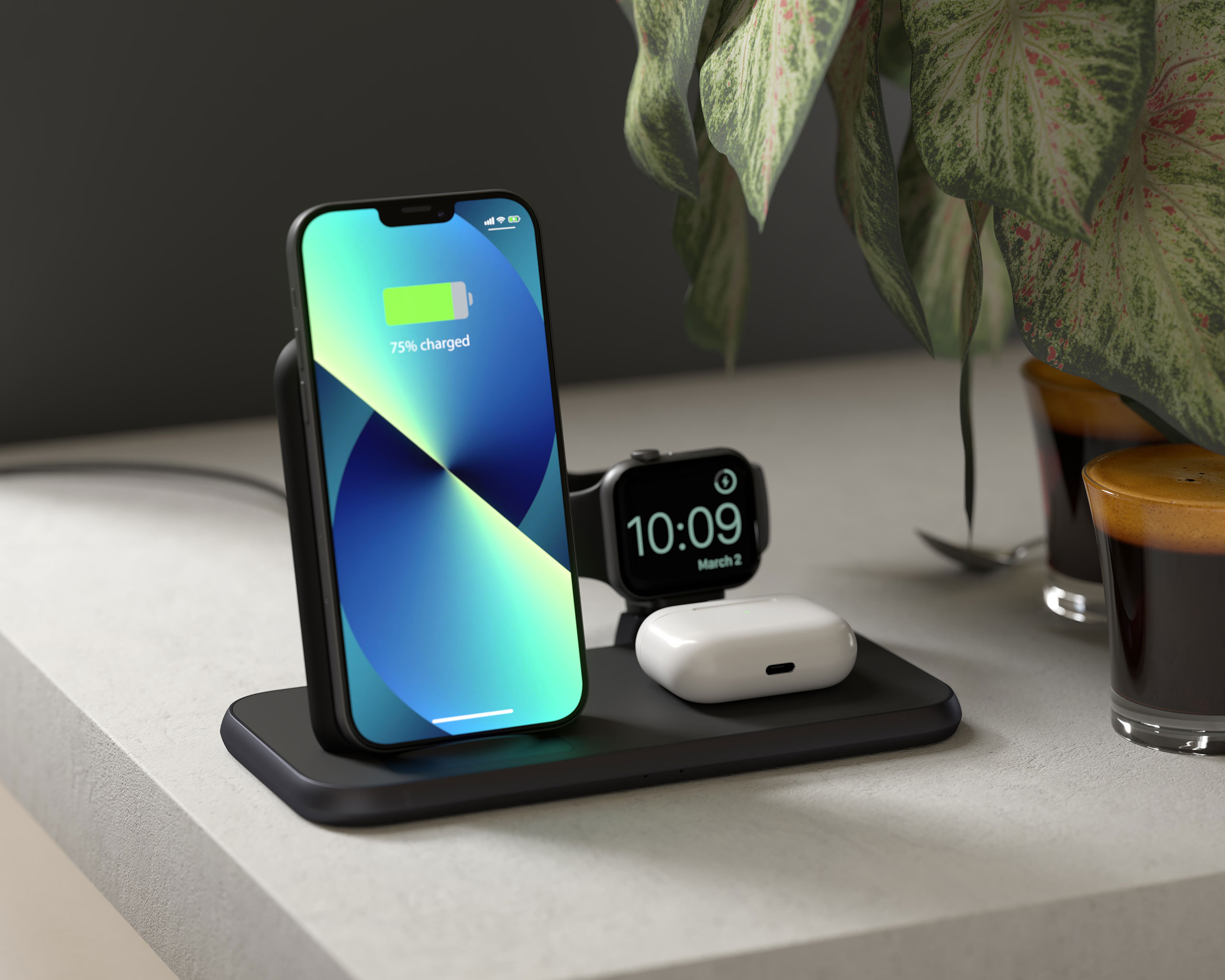 ZEDC15B - 4 in 1 Stand+Watch Wireless Charger Aluminium Lifestyle with iPhone 13