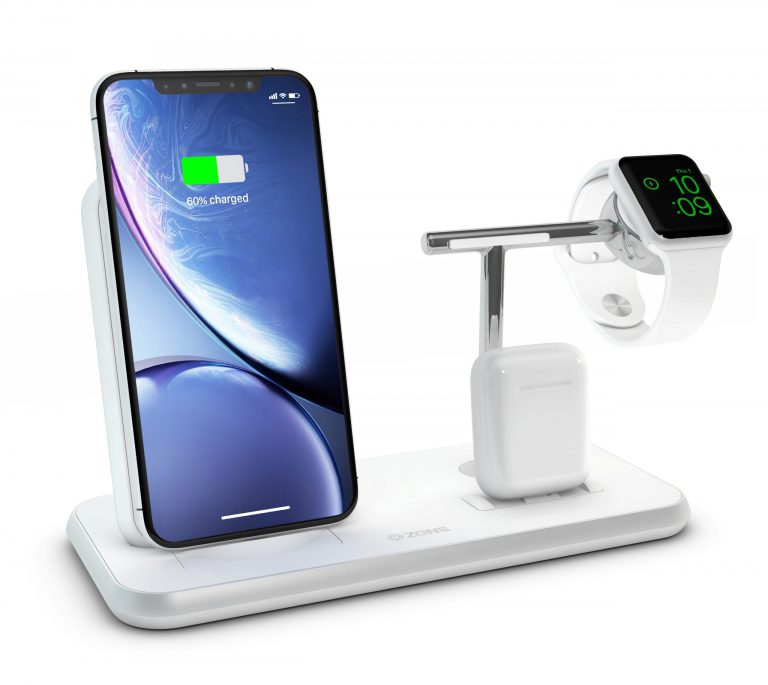 ZEDC07W - ZENS Stand+Dock+Watch Aluminium Wireless Charger White with Apple Watch, iPhone and AirPods
