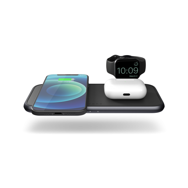 ZEDC14B - Zens 4-in-1 Wireless Charger Aluminium Front Top View with devices