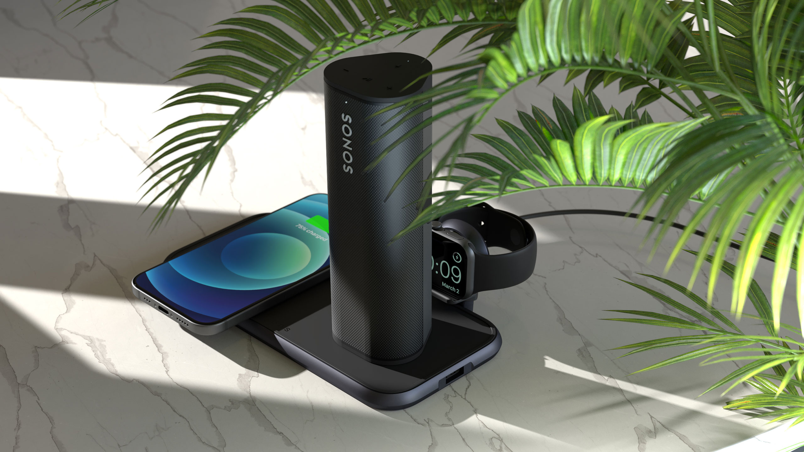 ZEDC14B - Zens 4-in-1 Wireless Charger with Sonos Speaker Lifestyle