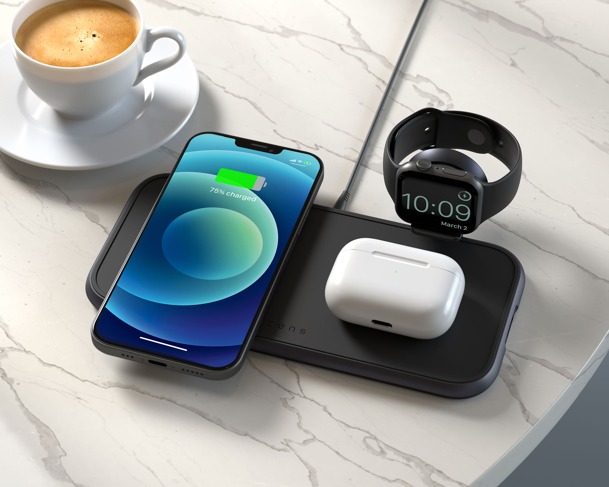 ZEDC14B - Zens 4-in-1 Wireless Charger Lifestyle Image