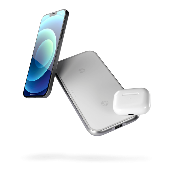 Iphone dual charger white with airpods