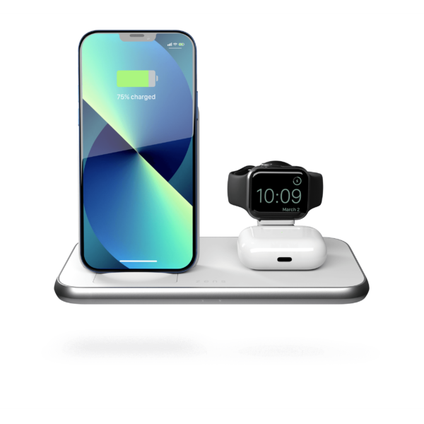 ZEDC15W - 4 in 1 Stand+Watch Wireless Charger Aluminium Front View with iPhone 13